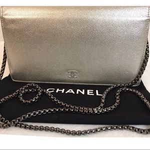 CHANEL Bags - Authentic Chanel Silver Caviar Leather Long Wallet